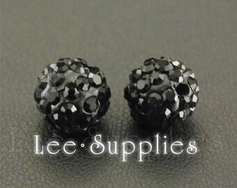 10pcs Polymer Clay Black Rhinestone Crystal Pave Disco Ball Beads