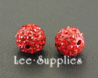 10pcs Polymer Clay Red Rhinestone Crystal Pave Disco Ball Beads