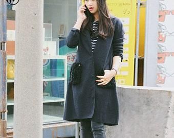 CLEARANCE: Wool cardigan, black cardigan, gray cardigan, wool cardigan with pockets, sweater