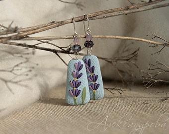 Dangle earrings Lavender - Polymer clay earrings - Lilac flowers - Sky-blue earrings - Floral earrings - Summer jewelry