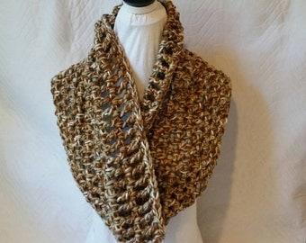 Tans with a touch of Blue-infinity-bulky-Crochet Scarf
