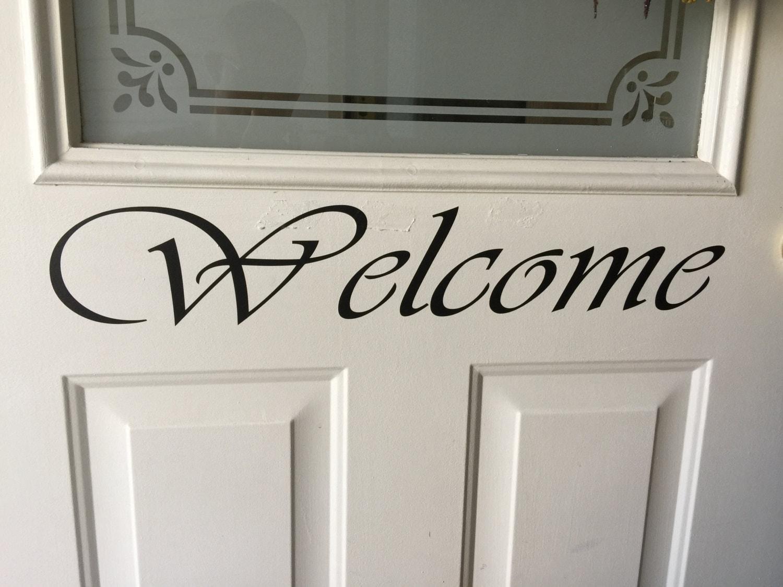 Welcome Front Door Vinyl Decal Custom Vinyl Decal Welcome Sign - Large custom vinyl decals