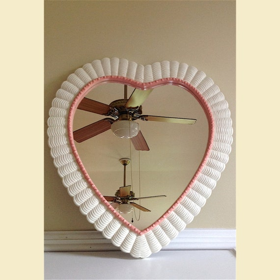 Vintage Heart Shaped Wall Mirror Pink And White Heart Mirror