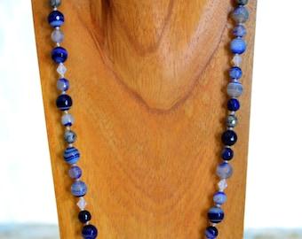 Sardonix Blue Agate Long Necklace