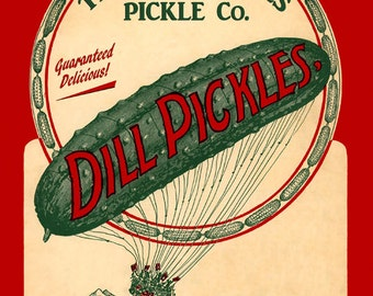 Food Dill Pickles Crispy and Fresh Balloon Kitchen Deli American  Vintage Poster Repro FREE SHIPPING in USA
