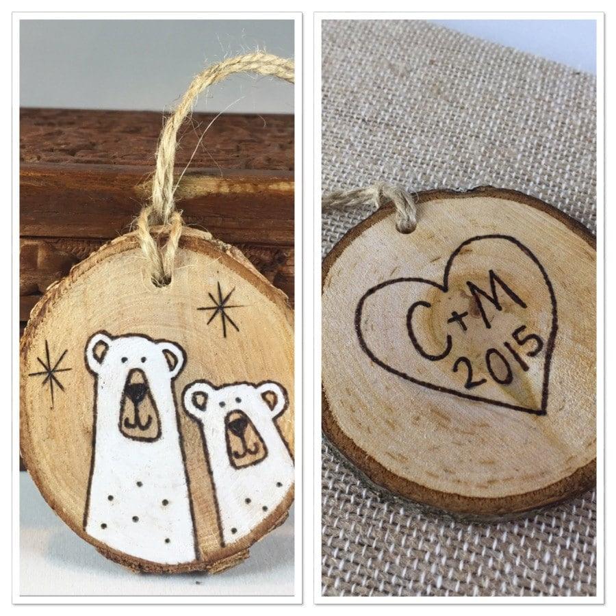 Personalized Christmas ornament polar bear wood slice
