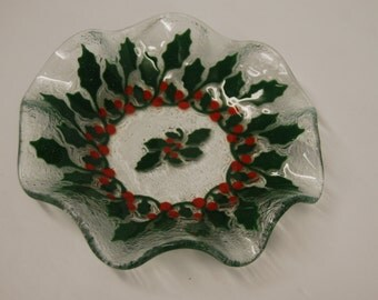 Art Glass dish with holly wreath design