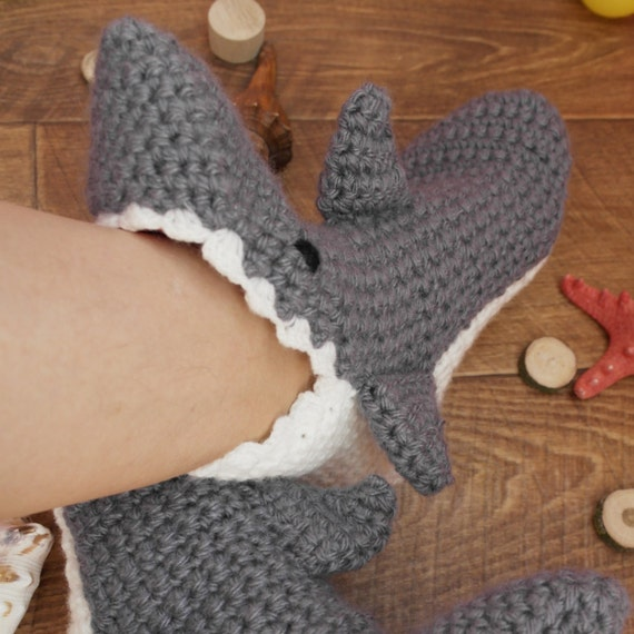 Knitting Gifts For Adults : Indoor knitted shark slippers bootsunisex adult