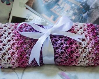 Purple melange scarf, mixed color cotton melange women scarf