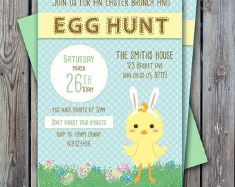 Easter Party invitation, Easter egg hunt invite, easter brunch, printable easter invitation, digital only, easter party