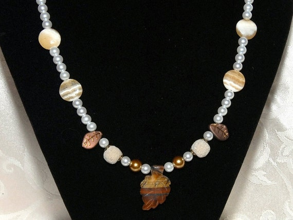 Aromatherapy Diffusing Necklace. Lava Stones for Essential Oils. Tiger Eye Autumn Leaf. Leaves and Gold. White Pearls, Yellow Jade. AN048