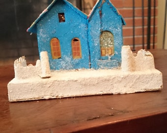 Vintage Shabby Chic Christmas Village House/Made in Japan/Cardboard/Pasteboard Christmas Village House/ Putz style