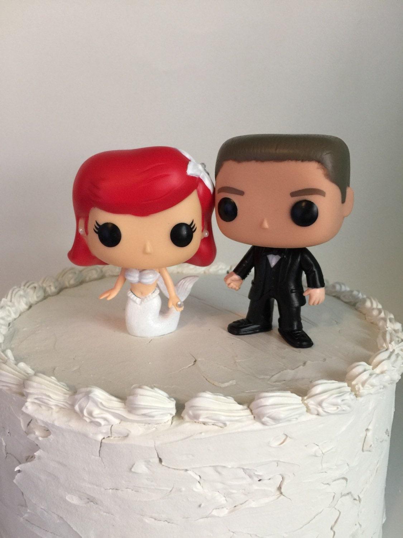 Funko Pop Mermaid Ariel And Groom Wedding Cake Topper Set