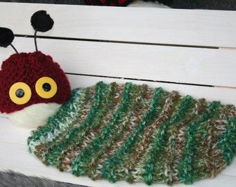 CATERPILLAR Knit Sleep Sack and Hat for Newborn Photo Shoots