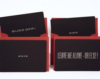 Letterpress Harsh Cards Set of 4 with Envelopes (Alone Set)