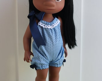 Blue polka dot romper for Disney Animator Dolls