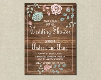 Wedding Shower Invitation, Wedding Shower Invitation Vintage, Rustic Wedding Shower Invitation, Printable Wedding Shower Invitation