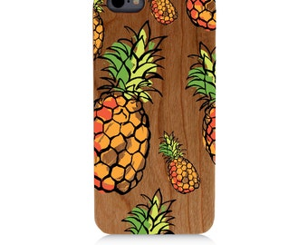 Pineapples Phone Case / Cherry wood Bright UV Print cover for iPhone 6s iPhone 6 plus Samsung Galaxy s5 s6 s7 Note 7