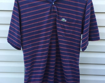 SMALL 90s Vintage IZOD Lacoste Blue Striped Polo Shirt Made in USA Soft Paper Thin Logo Tee T-shirt Light Stripe Navy Blue Men's S Top 1990s