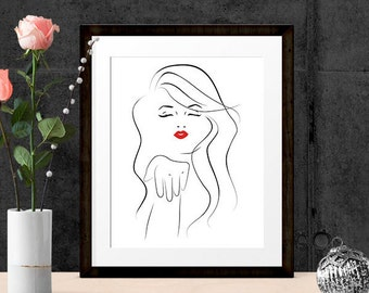 Girl Blowing a Kiss, Red Lips Love Print, Wall Art Prints, Bedroom Art, Printable  8x10, A3,  INSTANT DOWNLOAD
