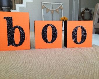 BOO Blocks Wooden Boo blocks Handmade Halloween decor