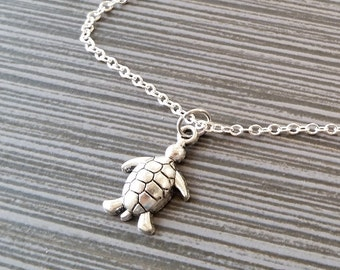 Silver Turtle Necklace - Turtle Charm Pendant - Personalized Necklace - Custom Gift - Initial Necklace - Personalized Gift - Tortoise