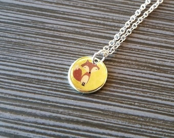Silver Fox Necklace - Red Fox Disc Necklace - Personalized Necklace - Custom Gift - Woodland Necklace - Fox Jewelry - Dainty Necklace