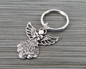 Silver Angel Keychain - Custom Gift - Silver Keychain - Gift for Mom - Large Angel Key Chain - Guardian Angel Keychain - Angel Key Ring