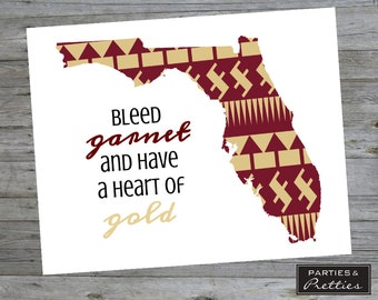 Florida State University - FSU - Seminoles - Bleed Garnet and Gold - School Pride Print
