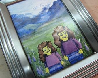 Custom Family Illustration | Personalized Family Art | LEGO® Family Gift | Watercolor Portrait | Christmas Portrait Painting | Custom gift