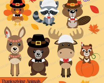 Cute Thanksgiving Woodland Animals - Instant Download File - Digital Graphics - Cute - Crafts, Parties - Commercial & Personal Use - #H013