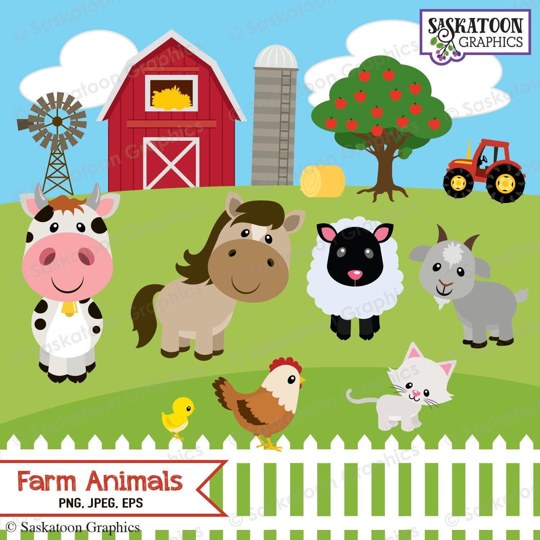 Cute Farm Animals Clipart