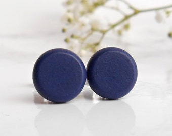 Navy Stud Earrings - Sterling Silver Post Earrings - Blue Sterling Silver Studs - Mens Stud Earrings - Earrings For Men - Silver Earrings