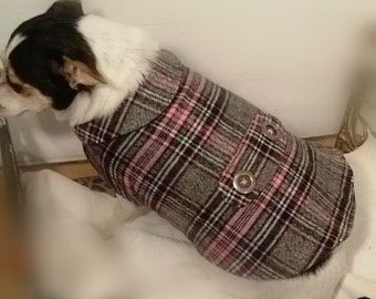 Pink, Gray, Black Flannel Dog Coat Gray Fleece Lining