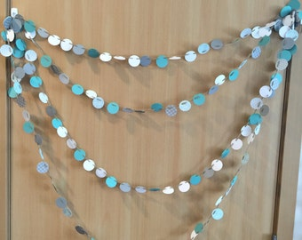Mini Paper Dot Garland  // ellie collection // Paper Garland // Paper banner // Party decor // mint // grey //