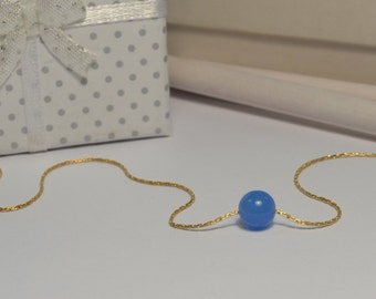 Blue Chalcedony NECKLACE // Ball Necklace - Dot Pendant - Stone Necklace - Dot Necklace - Drop Necklace - Chalcedony Charm Necklace