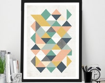 Abstract Geometric Triangle print, Home Wall Decor, Scandinavian print, Nordic Print, Digital Download, MidCentury Poster, Teal Mustard Pink
