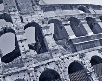 """Etching """"When in Rome,"""" Large etching from photo taken at the Coliseum, Etching of Coliseum"""