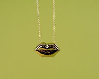 Brass Lips Necklace