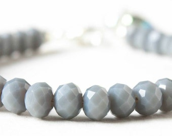 Bracelet with grey faceted beads and a heart charm. Christmas present, grey bracelet, shiny bracelet, Christmas gift, birthday present