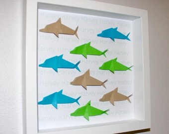 Personalised, Dolphin Origami Frame, origami, baby gift, naming gift for baby
