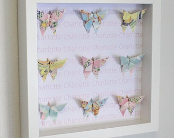Personalised, pastel butterfly origami, wall frame, naming gift, anniversary gift, origami butterfly, baby gift