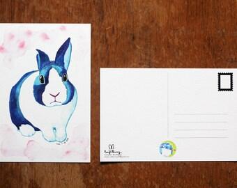 Dutch Rabbit Watercolor Postcard Print