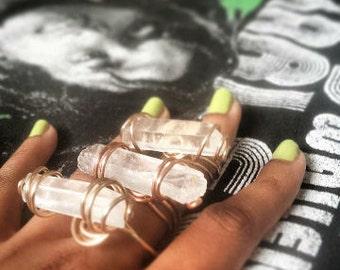 Raw Clear Quartz Ring