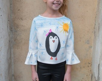 Girls printed blouse with painted penguin/painted blouse/printed top/winter top/snow print blouse/snow paint blouse/painted top/winter print