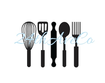 Kitchen Utensils .DXF .SVG  .PDF .Png, Cut File, Digital File, Silhouette Studio, Cricut, Spatula, Whisk, Spoon, Fork