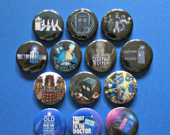 """Doctor Who, 1 1/4"""" Pin-back Buttons -- Single Button or Complete Set"""