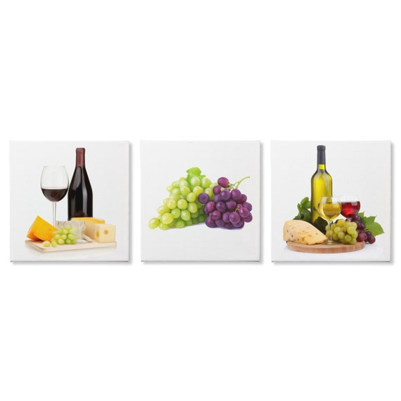 Modern Kitchen Art 'Wine and Cheese' Food Painting Wine And Cheese Art
