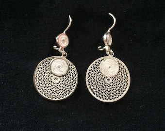 Silver - Handmade Sterling Silver 950 - Filigree Earrings From Colombia