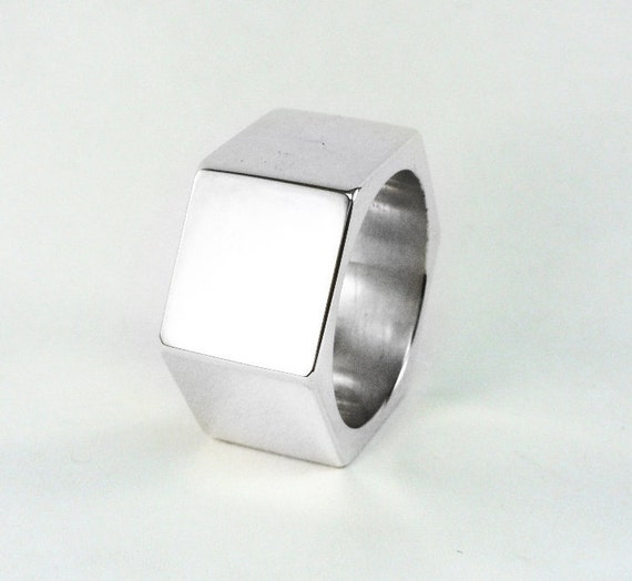 Hex Nut Ring Mens Wedding Ring Bolt Silver By